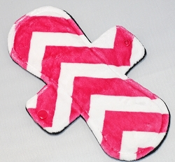 11 Inch Fuchsia Chevron Minky Overnight Pad with Fleece back