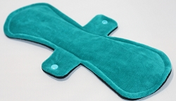 13 Inch Teal Cotton Velour Post Partum Pad with Fleece back