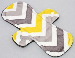 9 Inch Lemon Chevron Minky Day Pad with Fleece back