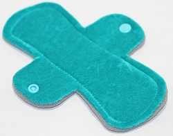 7.5 Inch Teal Cotton Velour Pantyliner