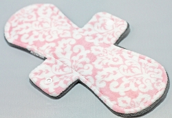 11 Inch Pink Damask Minky Overnight Cloth Pad