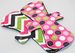 Set of 2 13 Inch Minky Post Partum Pads with Fleece backs