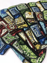 Stained Glass Houses Cotton Woven Pads with Fleece backs - Pick Your Size!
