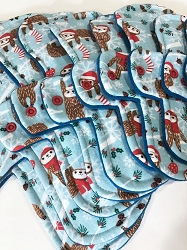 Festive Sloths Cotton Jersey Pads with Fleece backs - Pick Your Size!