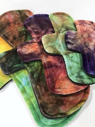 Hand Dyed Bamboo Velour Pads with Fleece backs - Pick Your Size! (Rainbow)