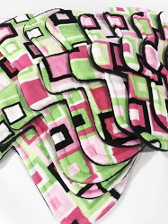 Fuchsia and Lime Squares Minky Pads with Fleece backs - Pick Your Size!