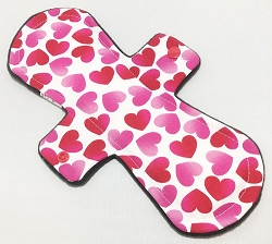 11 Inch Floating Hearts Cotton Overnight Pad with Fleece back