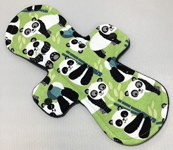 11 Inch Green Pandas Cotton Jersey Overnight Cloth Pad