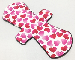 12 Inch Floating Hearts Cotton Ultimate Overnight Pad with Fleece back