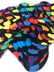 Rainbow Hearts Poly Jersey Pads with Fleece backs - Pick Your Size!
