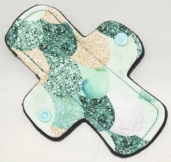 6 Inch Green Scales Cotton Jersey Mini Cloth Pantyliner - Original Width