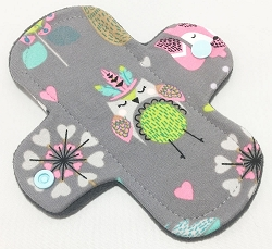 6 Inch Woodland Critters Cotton Jersey Mini Cloth Pantyliner - Wide Width