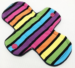 7.5 Inch Neon Stripes Cotton Jersey Regular Cloth Pantyliner