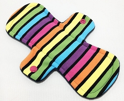 9 Inch Neon Stripes Cotton Jersey Day Cloth Pad