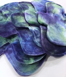 Hand Dyed Bamboo Velour Pads with Fleece backs - Pick Your Size! (blue)
