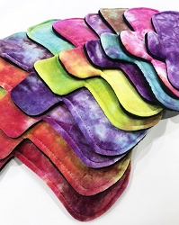 Hand Dyed Vibrant Rainbow Bamboo Velour Pads with Fleece backs - Pick Your Size!