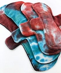 Hand Dyed Red and Turquoise Bamboo Velour Pads with Fleece backs - Pick Your Size!