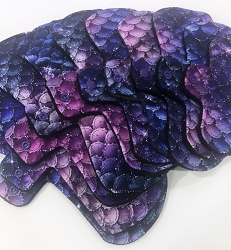 Mermaid Scales Cotton Jersey Pads with Fleece backs - Pick Your Size!