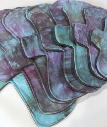 Jewel Mist Hand Dyed Bamboo Jersey Pads with Fleece backs - Pick Your Size!