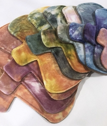 Autumn Rainbow Hand Dyed Bamboo Velour Pads with Fleece backs - Pick Your Size!