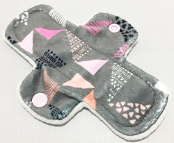 6 Inch Grey and Pink Triangles Minky Mini Cloth Pantyliner - Original Width