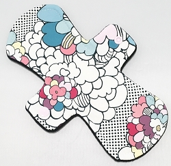 9 Inch Pop Art Floral Cotton Jersey Day Cloth Pad