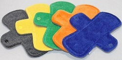Set of 5 7.5 Inch Cotton Velour Pantyliners with Fleece backs