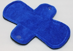 7.5 Inch Royal Blue Cotton Velour Regular Pantyliner with Fleece back
