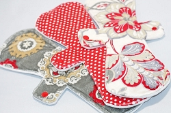 Set of 3 13 Inch Minky Post Partum Cloth Pads with Fleece backs