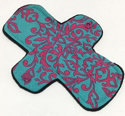 7.5 Inch Teal Damask Cotton Pantyliner