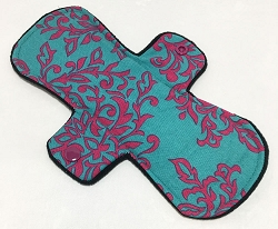 9 Inch Teal Damask Cotton Day Pad with Fleece back