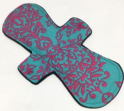 11 Inch Teal Damask Cotton Overnight Pad with Fleece back
