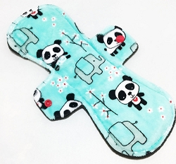 11 Inch Pandas Minky Overnight Pad with Fleece back
