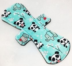 13 Inch Pandas Minky Post Partum Pad with Fleece back