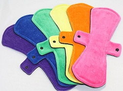 Set of 6 13 Inch Cotton Velour Post Partum Cloth Pads with Fleece backs