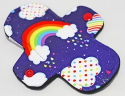 6 Inch Night Rainbow Polyester Jersey Mini Cloth Pantyliner - Wide Width