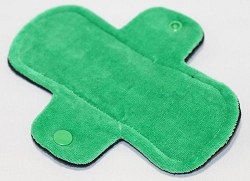 6 Inch Green Cotton Velour Mini Cloth Pantyliner