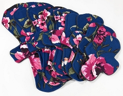 Deep Blue Roses Poly Jersey Pads with Fleece backs - Pick Your Size!