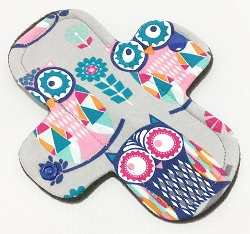 6 Inch Mosaic Owls Cotton Jersey Mini Cloth Pantyliner - Wide Width