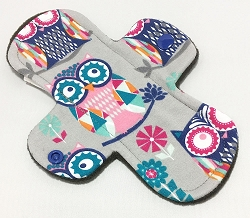 7.5 Inch Mosaic Owls Cotton Jersey Regular Cloth Pantyliner