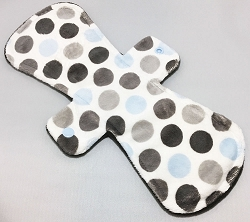 12 Inch Blue Dots Minky Ultimate Overnight Pad with Fleece back