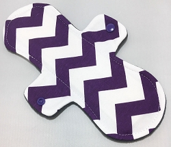 11 Inch Purple Chevron Cotton Jersey Overnight Cloth Pad