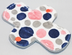 6 Inch Coral and Navy Bubble Dot Minky Mini Cloth Pantyliner - Original Width