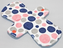 9 Inch Coral and Navy Bubble Dot Minky Day Cloth Pad