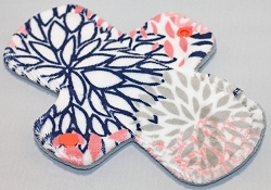 7.5 Inch Coral and Navy Blooms Minky Regular Cloth Pantyliner