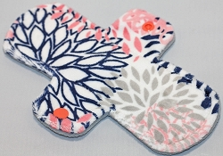 8 Inch Coral and Navy Blooms Minky Light Cloth Pad