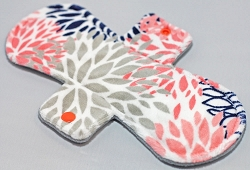 10 Inch Coral and Navy Blooms Minky Heavy Cloth Pad