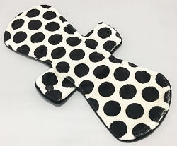 12 Inch Black Dots Minky Ultimate Overnight Pad with Fleece back