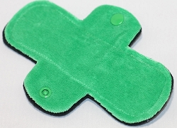 6 Inch Green Cotton Velour Mini Cloth Pantyliner - Original Width