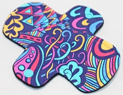 6 Inch Graffiti Cotton Jersey Mini Cloth Pantyliner - Wide Width